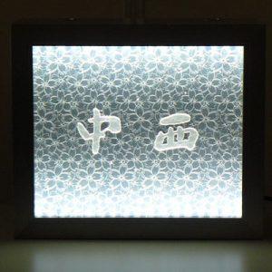 絹アクリル LEDライティングサインの桜重ね柄