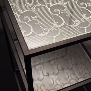絹ガラスSilkGlass製の什器コンソールテーブル