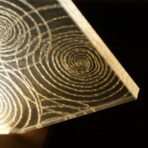 絹アクリルLEDライトに生える渦巻の絹糸