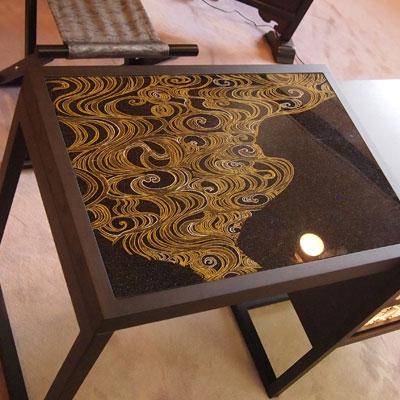 京都府知事室 立礼台 Silk Art Tea Table