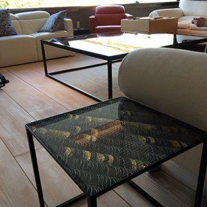 サイドテーブルとしてご使用の絹ガラス製ネストテーブル