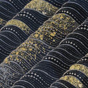 金彩工芸と刺繍による文様の美しい絹ガラスのネストテーブル