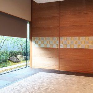 国立京都国際会館へプラチナ箔の源氏香ファブリックパネル