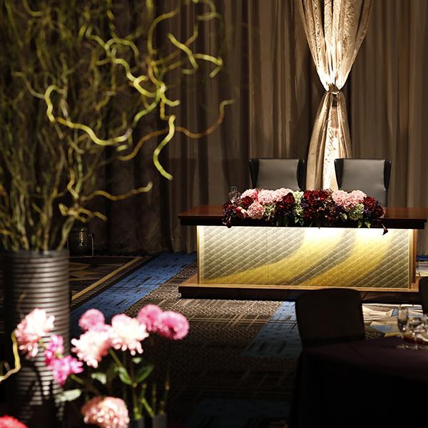 博多名門ホテル様<br>ロイヤルウエディング高砂席+ケーキテーブル