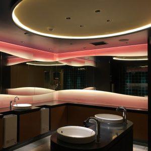 霞絹使用の茜色グラデーションが魅力的な絹ガラスの壁